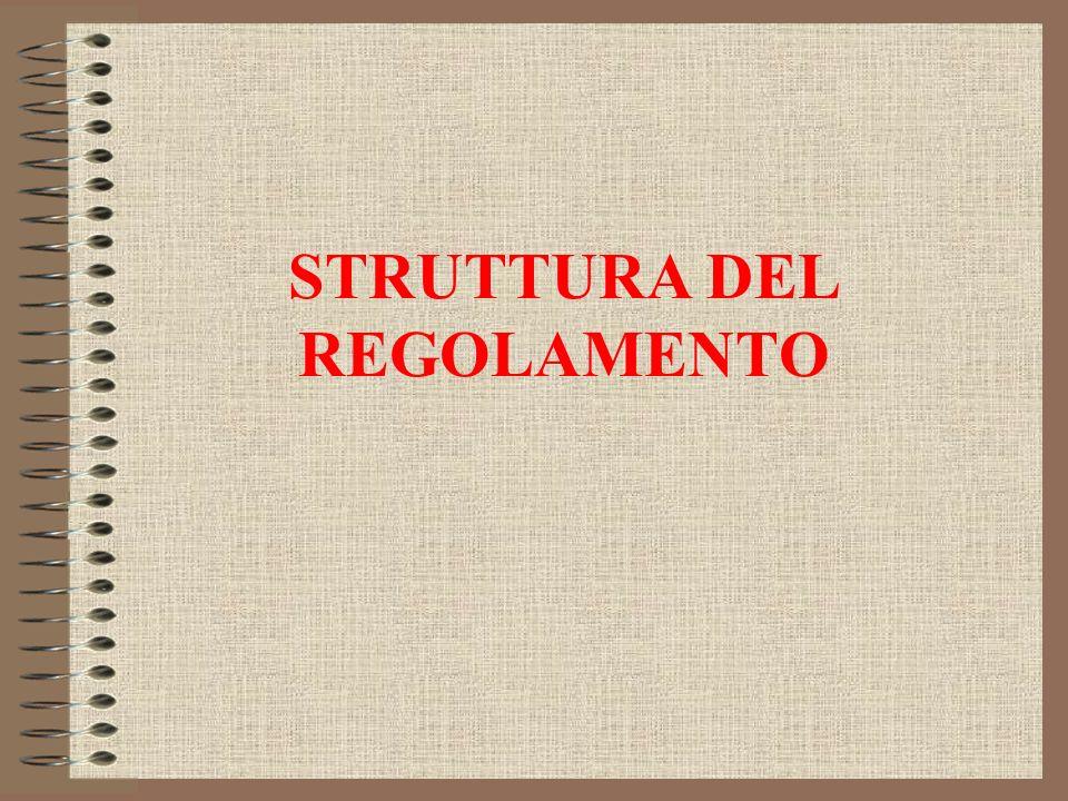 STRUTTURA DEL REGOLAMENTO
