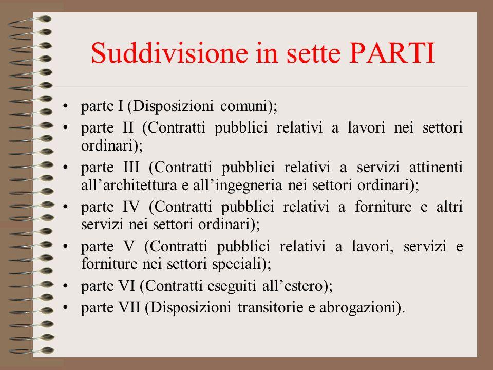 Suddivisione in sette PARTI parte I (Disposizioni comuni); parte II (Contratti pubblici relativi a lavori nei settori ordinari); parte III (Contratti