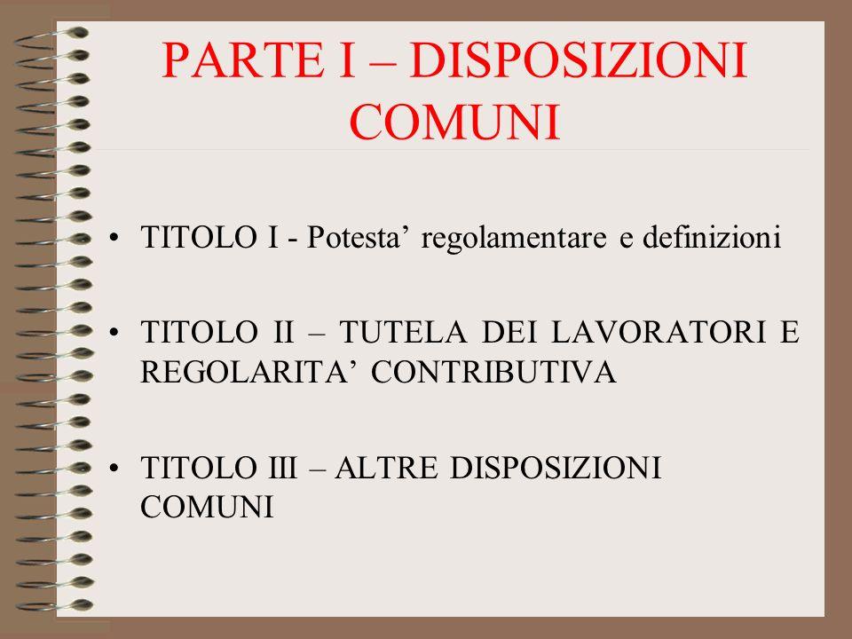 PARTE I – DISPOSIZIONI COMUNI TITOLO I - Potesta regolamentare e definizioni TITOLO II – TUTELA DEI LAVORATORI E REGOLARITA CONTRIBUTIVA TITOLO III –