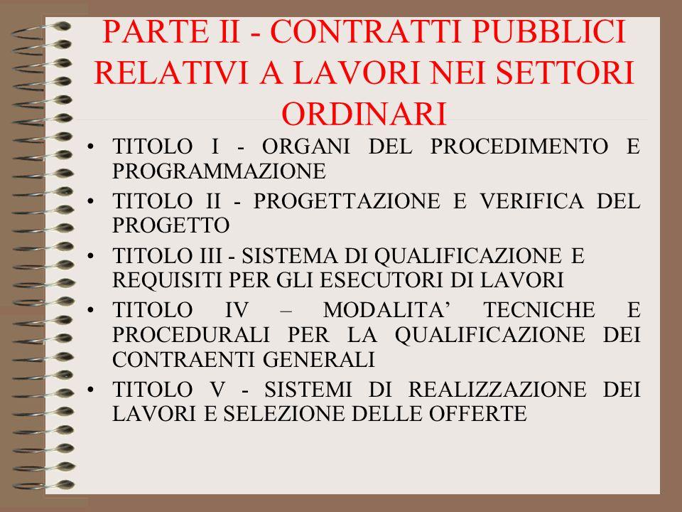 PARTE II - CONTRATTI PUBBLICI RELATIVI A LAVORI NEI SETTORI ORDINARI TITOLO I - ORGANI DEL PROCEDIMENTO E PROGRAMMAZIONE TITOLO II - PROGETTAZIONE E V