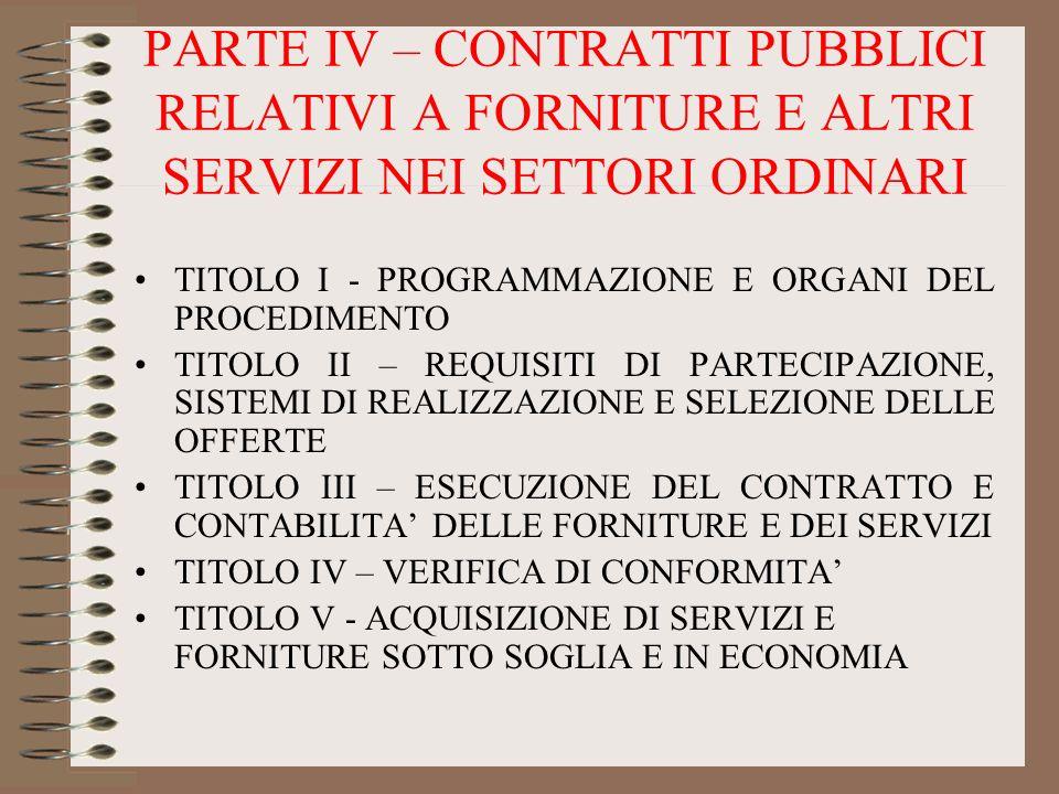 PARTE IV – CONTRATTI PUBBLICI RELATIVI A FORNITURE E ALTRI SERVIZI NEI SETTORI ORDINARI TITOLO I - PROGRAMMAZIONE E ORGANI DEL PROCEDIMENTO TITOLO II