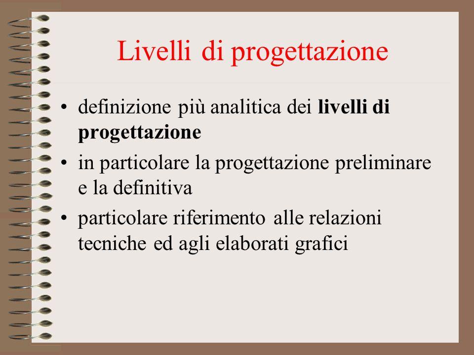 Livelli di progettazione definizione più analitica dei livelli di progettazione in particolare la progettazione preliminare e la definitiva particolar