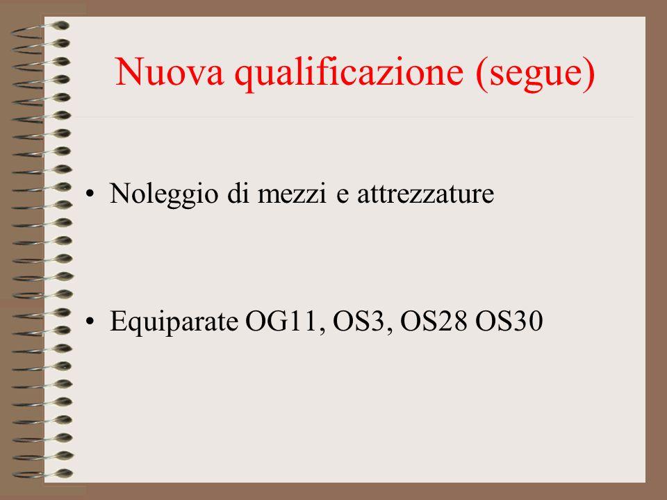 Nuova qualificazione (segue) Noleggio di mezzi e attrezzature Equiparate OG11, OS3, OS28 OS30