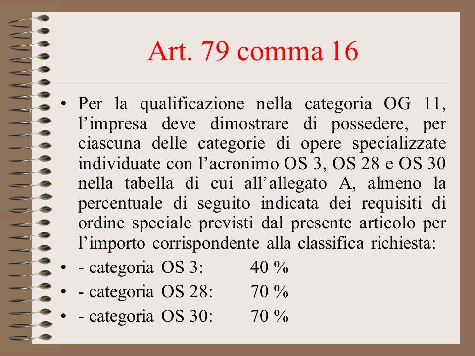 Art. 79 comma 16 Per la qualificazione nella categoria OG 11, limpresa deve dimostrare di possedere, per ciascuna delle categorie di opere specializza