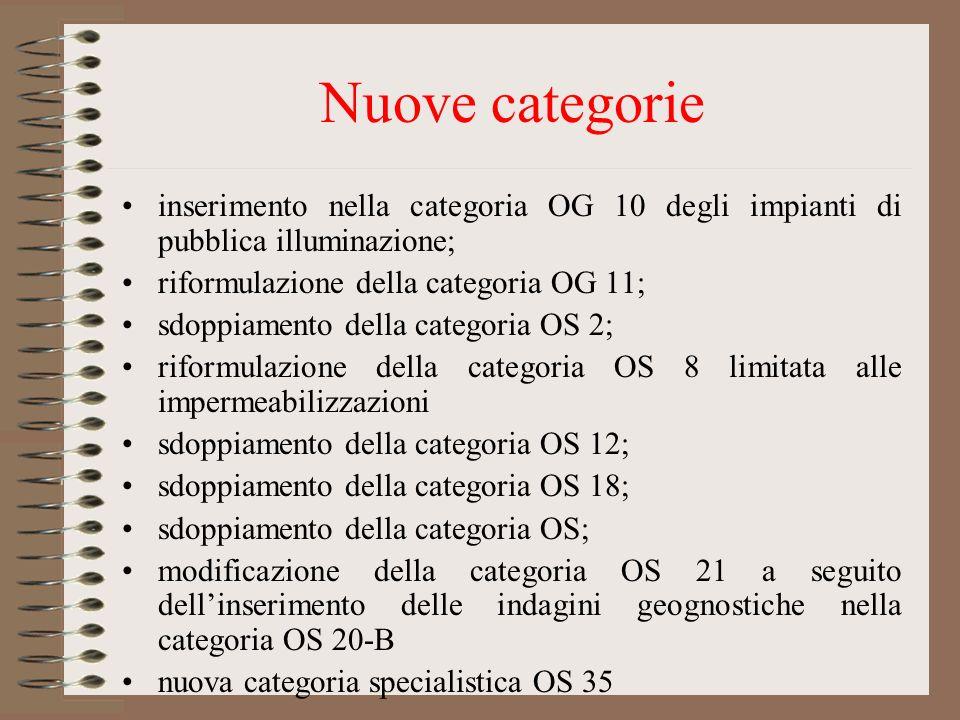 Nuove categorie inserimento nella categoria OG 10 degli impianti di pubblica illuminazione; riformulazione della categoria OG 11; sdoppiamento della c