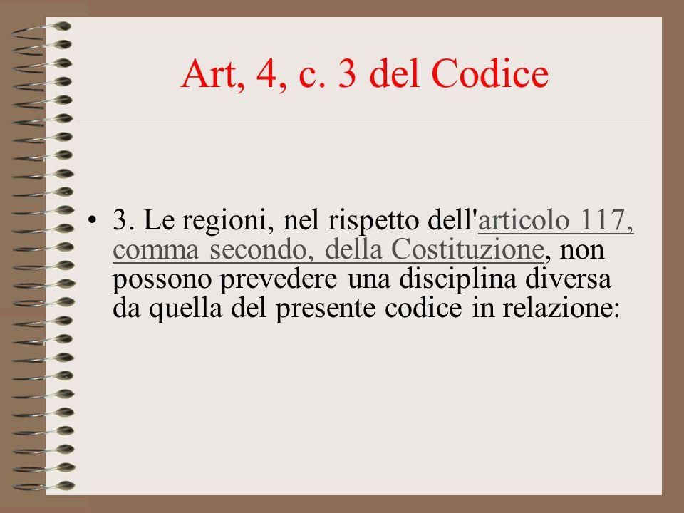 Art, 4, c. 3 del Codice 3. Le regioni, nel rispetto dell'articolo 117, comma secondo, della Costituzione, non possono prevedere una disciplina diversa