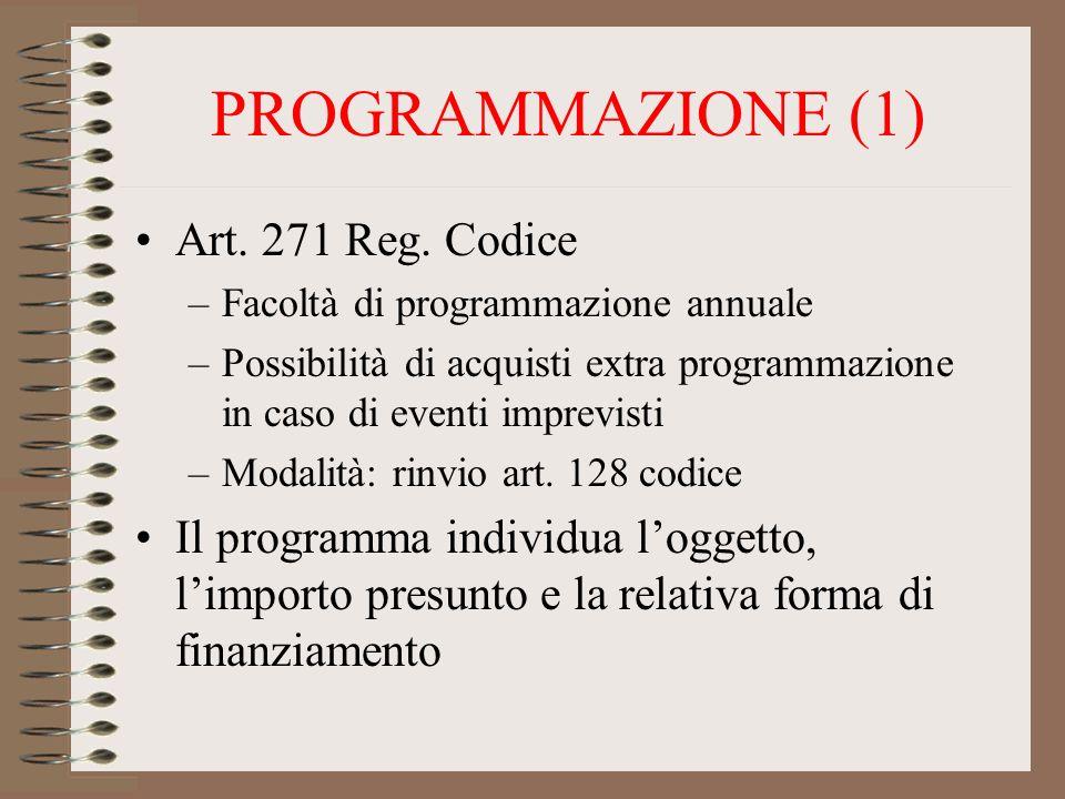 PROGRAMMAZIONE (1) Art. 271 Reg. Codice –Facoltà di programmazione annuale –Possibilità di acquisti extra programmazione in caso di eventi imprevisti