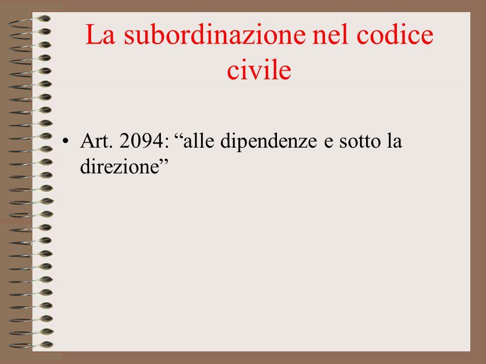 La subordinazione nel codice civile Art. 2094: alle dipendenze e sotto la direzione