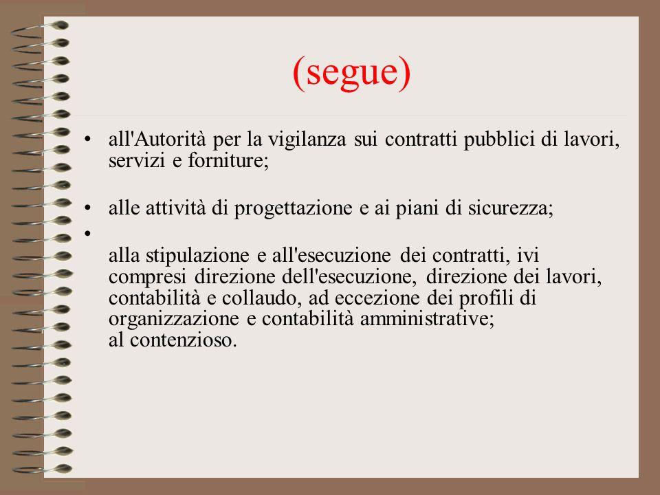 (segue) all'Autorità per la vigilanza sui contratti pubblici di lavori, servizi e forniture; alle attività di progettazione e ai piani di sicurezza; a