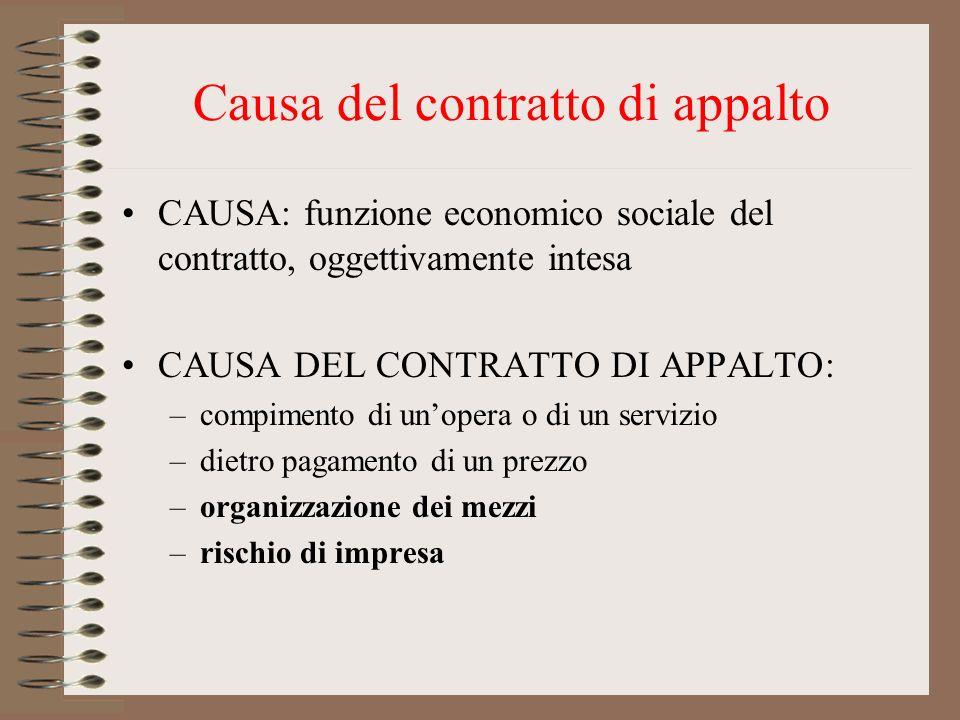 Causa del contratto di appalto CAUSA: funzione economico sociale del contratto, oggettivamente intesa CAUSA DEL CONTRATTO DI APPALTO: –compimento di u