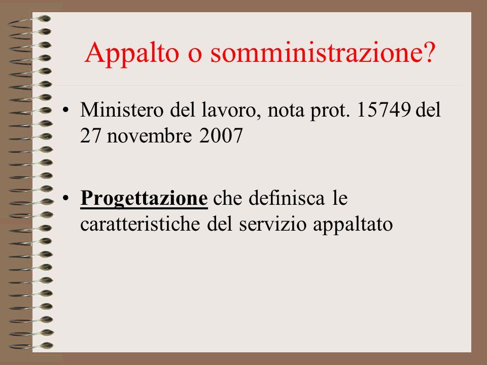 Appalto o somministrazione? Ministero del lavoro, nota prot. 15749 del 27 novembre 2007 Progettazione che definisca le caratteristiche del servizio ap