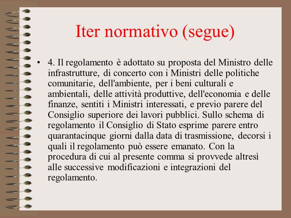 Iter normativo (segue) 4. Il regolamento è adottato su proposta del Ministro delle infrastrutture, di concerto con i Ministri delle politiche comunita