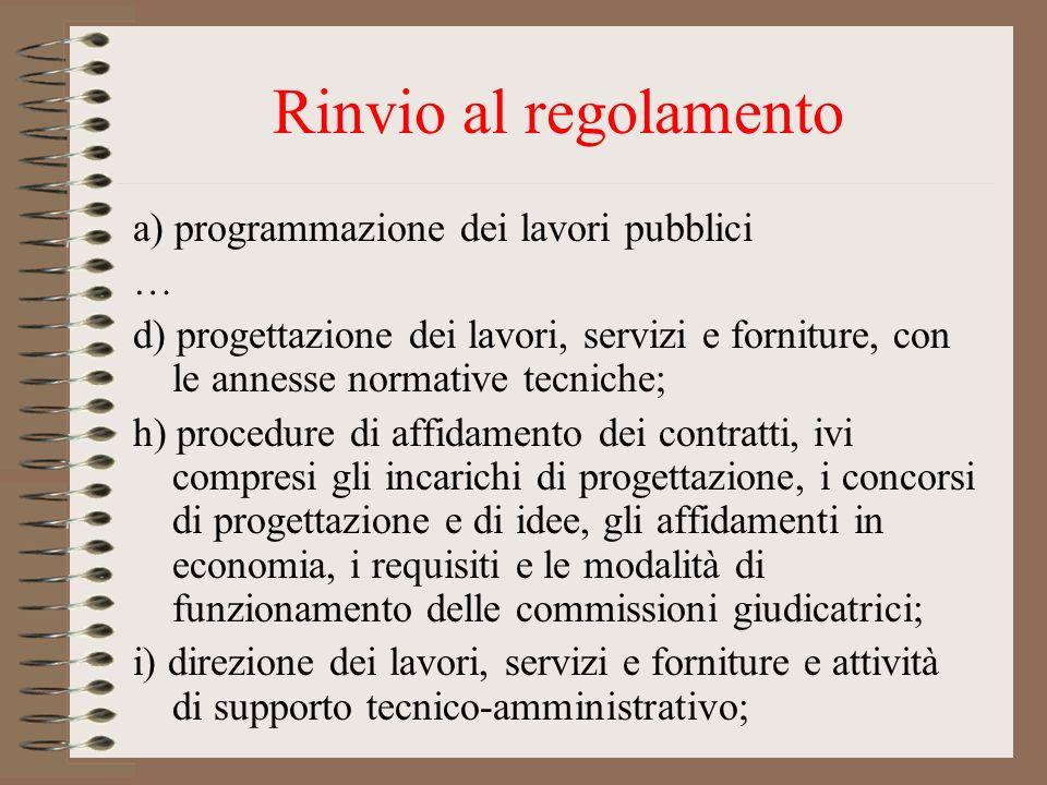Rinvio al regolamento a) programmazione dei lavori pubblici … d) progettazione dei lavori, servizi e forniture, con le annesse normative tecniche; h)