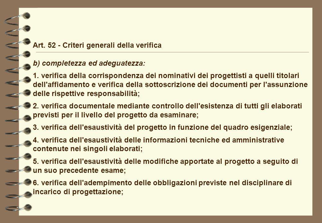 Art. 52 - Criteri generali della verifica b) completezza ed adeguatezza: 1. verifica della corrispondenza dei nominativi dei progettisti a quelli tito