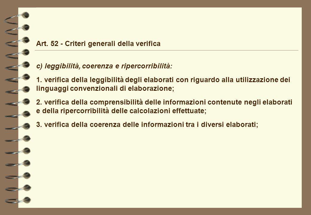 Art. 52 - Criteri generali della verifica c) leggibilità, coerenza e ripercorribilità: 1. verifica della leggibilità degli elaborati con riguardo alla