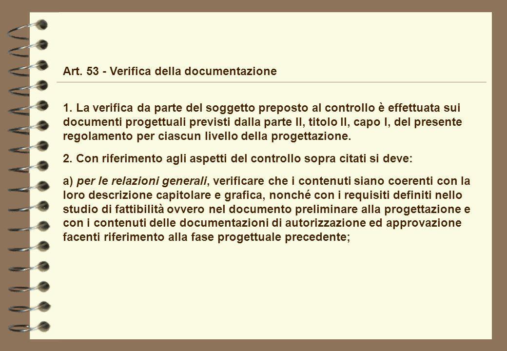 Art. 53 - Verifica della documentazione 1. La verifica da parte del soggetto preposto al controllo è effettuata sui documenti progettuali previsti dal