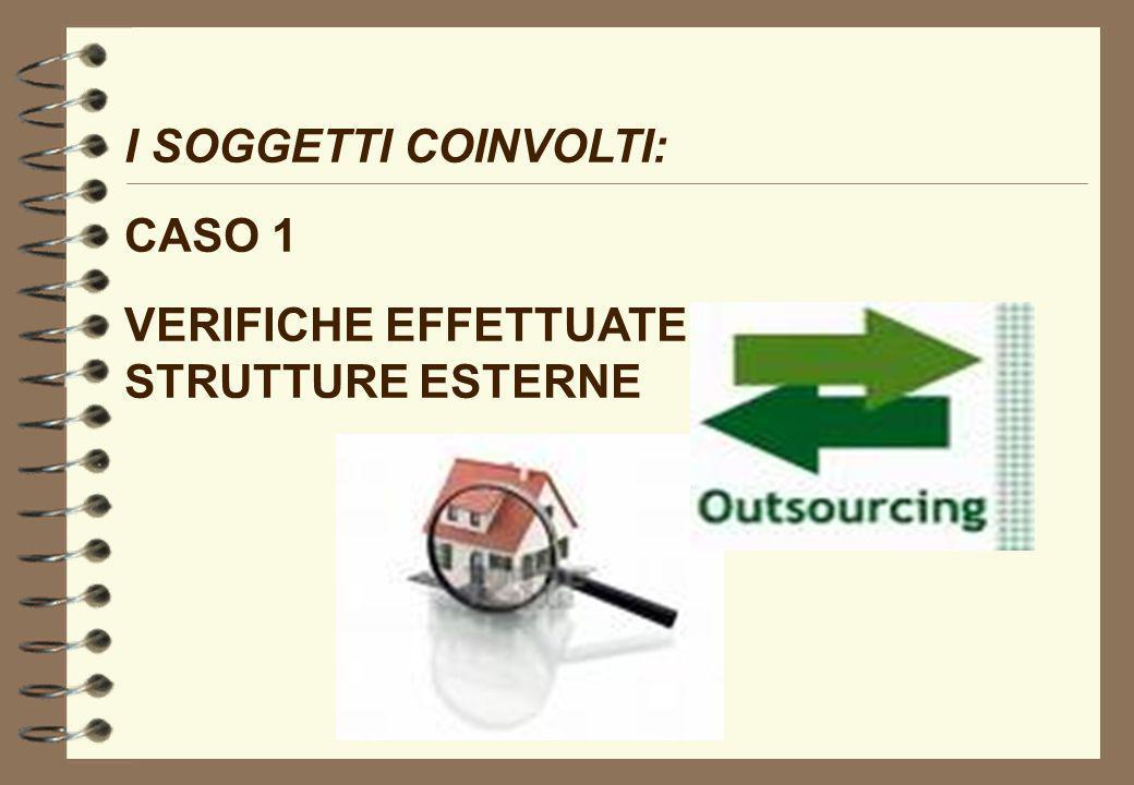 I SOGGETTI COINVOLTI: CASO 1 VERIFICHE EFFETTUATE MEDIANTE STRUTTURE ESTERNE