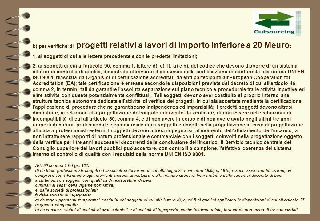 b) per verifiche di progetti relativi a lavori di importo inferiore a 20 Meuro : 1. ai soggetti di cui alla lettera precedente e con le predette limit