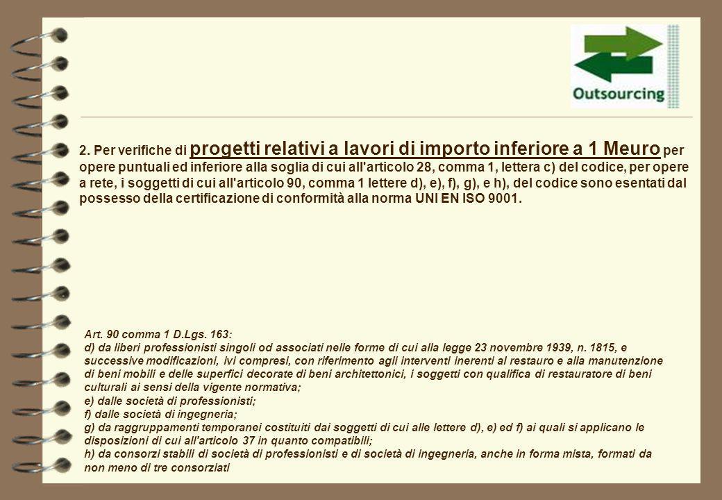 2. Per verifiche di progetti relativi a lavori di importo inferiore a 1 Meuro per opere puntuali ed inferiore alla soglia di cui all'articolo 28, comm