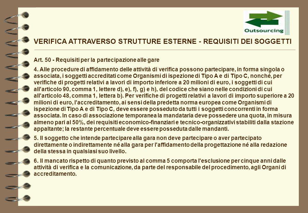 VERIFICA ATTRAVERSO STRUTTURE ESTERNE - REQUISITI DEI SOGGETTI Art. 50 - Requisiti per la partecipazione alle gare 4. Alle procedure di affidamento de