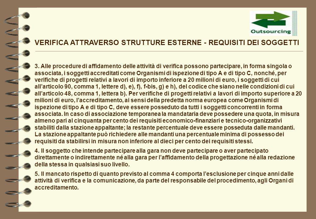 VERIFICA ATTRAVERSO STRUTTURE ESTERNE - REQUISITI DEI SOGGETTI 3. Alle procedure di affidamento delle attività di verifica possono partecipare, in for