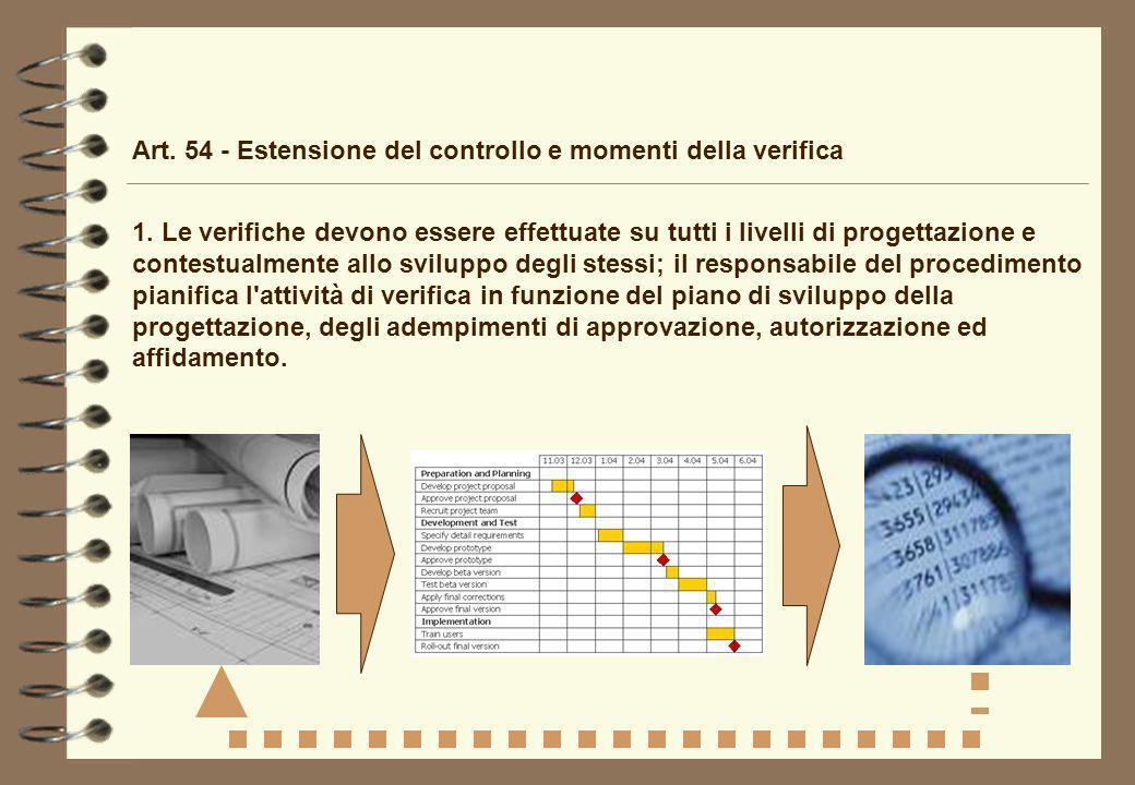 Art. 54 - Estensione del controllo e momenti della verifica 1. Le verifiche devono essere effettuate su tutti i livelli di progettazione e contestualm