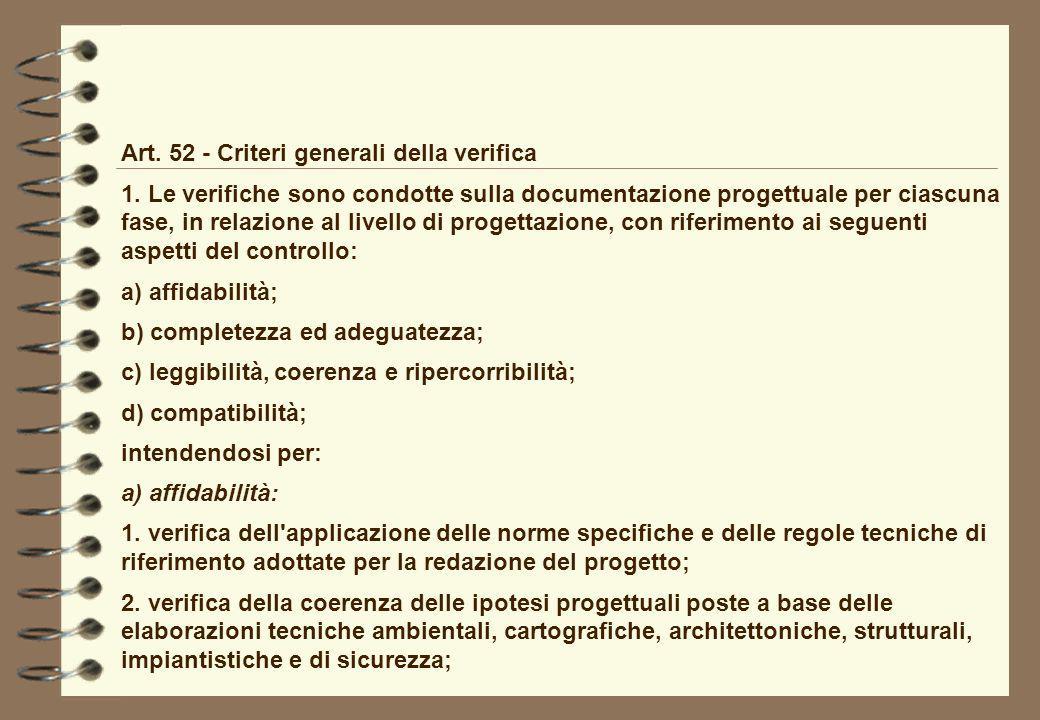 Art. 52 - Criteri generali della verifica 1. Le verifiche sono condotte sulla documentazione progettuale per ciascuna fase, in relazione al livello di