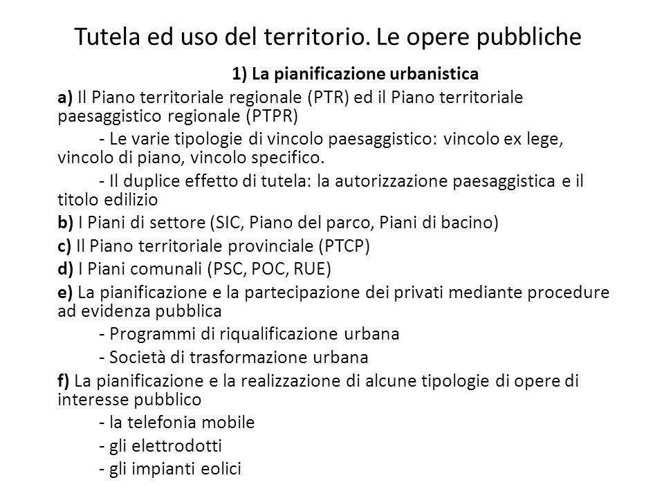 Tutela ed uso del territorio. Le opere pubbliche 1) La pianificazione urbanistica a) Il Piano territoriale regionale (PTR) ed il Piano territoriale pa