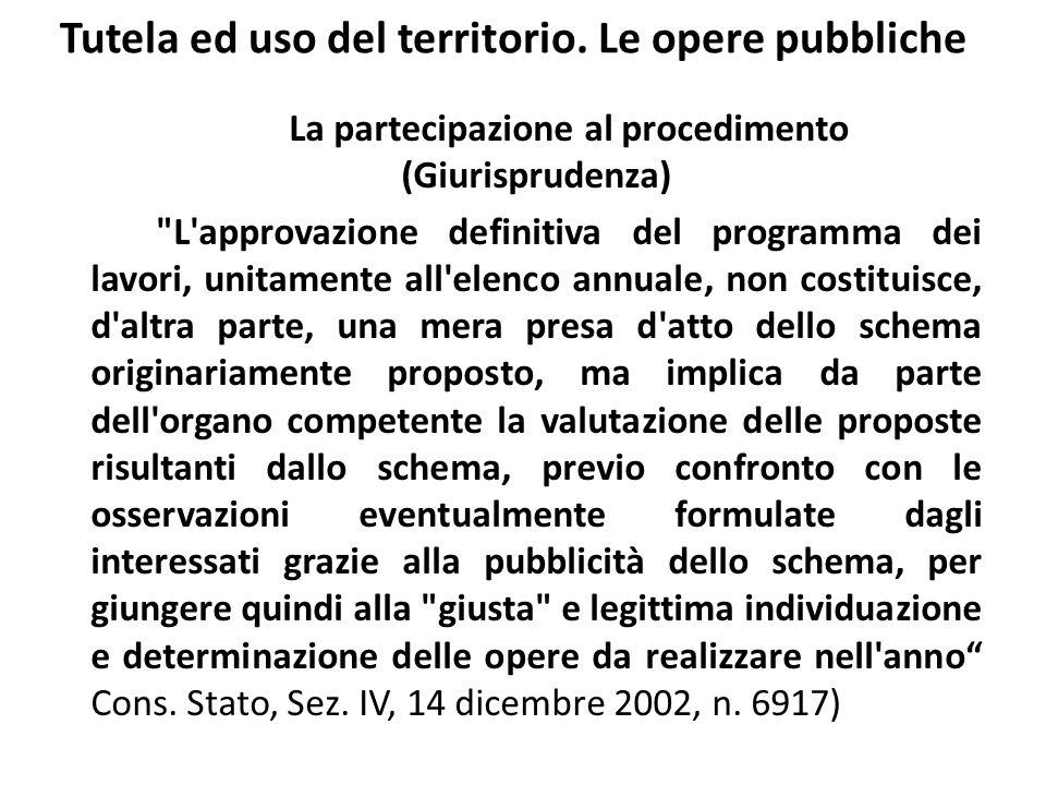 Tutela ed uso del territorio. Le opere pubbliche La partecipazione al procedimento (Giurisprudenza)