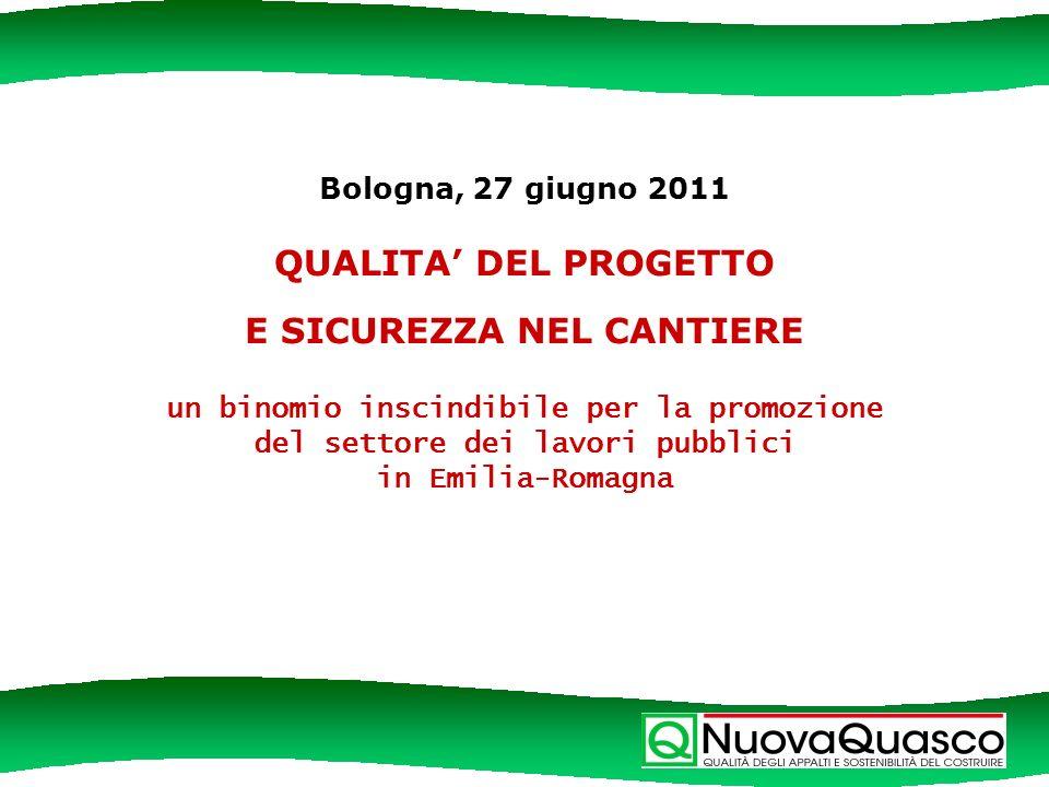 Bologna, 27 giugno 2011 QUALITA DEL PROGETTO E SICUREZZA NEL CANTIERE un binomio inscindibile per la promozione del settore dei lavori pubblici in Emilia-Romagna