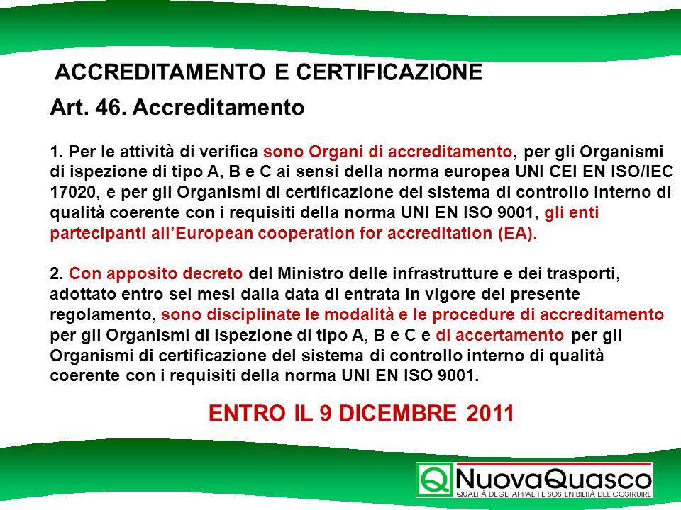 ACCREDITAMENTO E CERTIFICAZIONE Art. 46. Accreditamento 1.