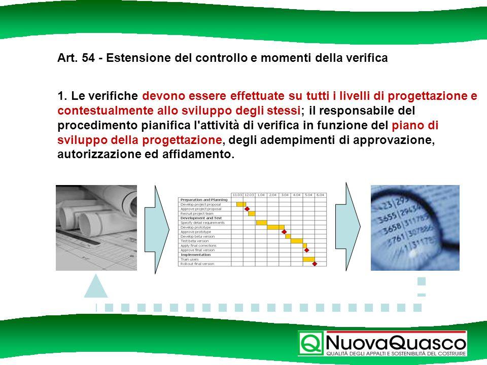 Art. 54 - Estensione del controllo e momenti della verifica 1.
