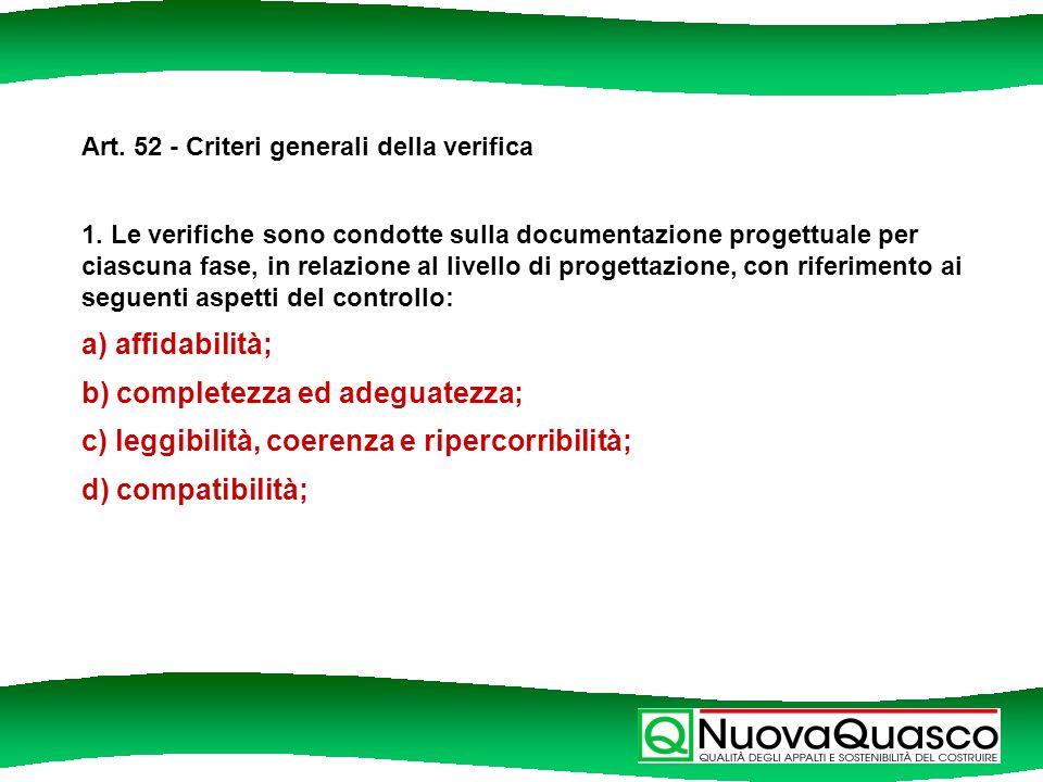 Art. 52 - Criteri generali della verifica 1.