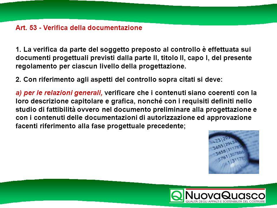 Art. 53 - Verifica della documentazione 1.