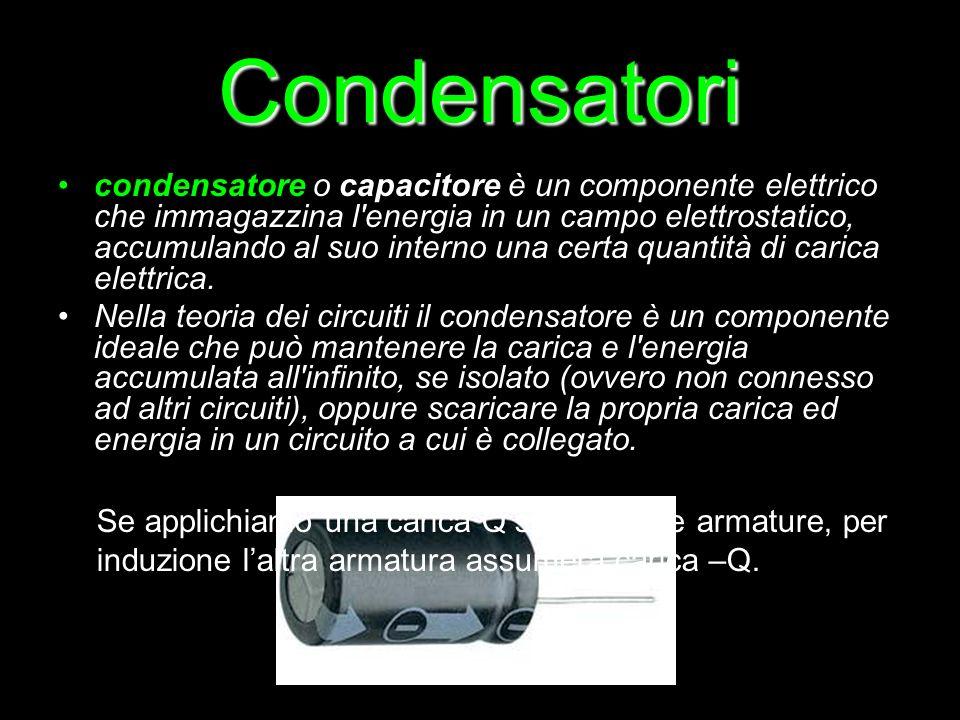 Condensatori condensatore o capacitore è un componente elettrico che immagazzina l'energia in un campo elettrostatico, accumulando al suo interno una