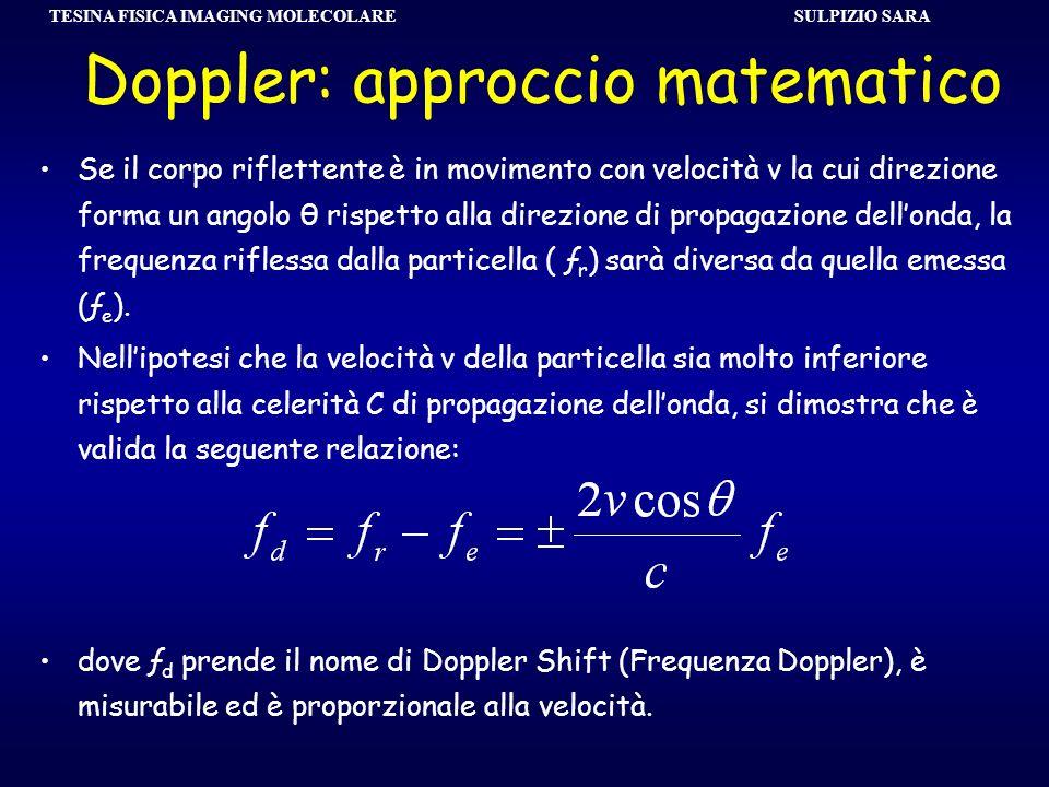 SULPIZIO SARA TESINA FISICA IMAGING MOLECOLARE Doppler: approccio matematico Se il corpo riflettente è in movimento con velocità ν la cui direzione fo
