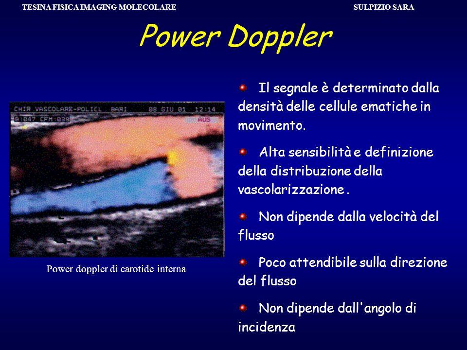 SULPIZIO SARA TESINA FISICA IMAGING MOLECOLARE Power Doppler Il segnale è determinato dalla densità delle cellule ematiche in movimento. Alta sensibil