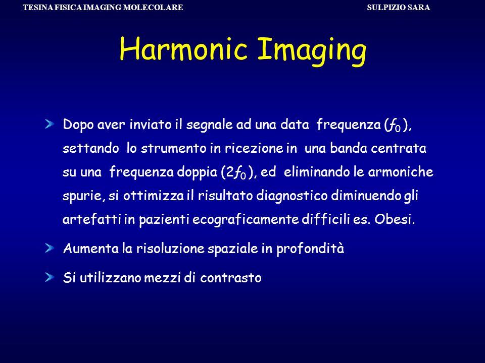 SULPIZIO SARA TESINA FISICA IMAGING MOLECOLARE Harmonic Imaging Dopo aver inviato il segnale ad una data frequenza (ƒ 0 ), settando lo strumento in ri