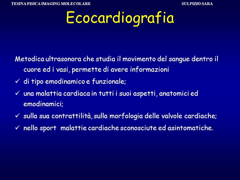 SULPIZIO SARA TESINA FISICA IMAGING MOLECOLARE Ecocardiografia Metodica ultrasonora che studia il movimento del sangue dentro il cuore ed i vasi, perm