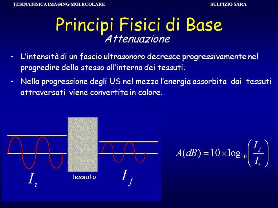 SULPIZIO SARA TESINA FISICA IMAGING MOLECOLARE Principi Fisici di Base Lintensità di un fascio ultrasonoro decresce progressivamente nel progredire de
