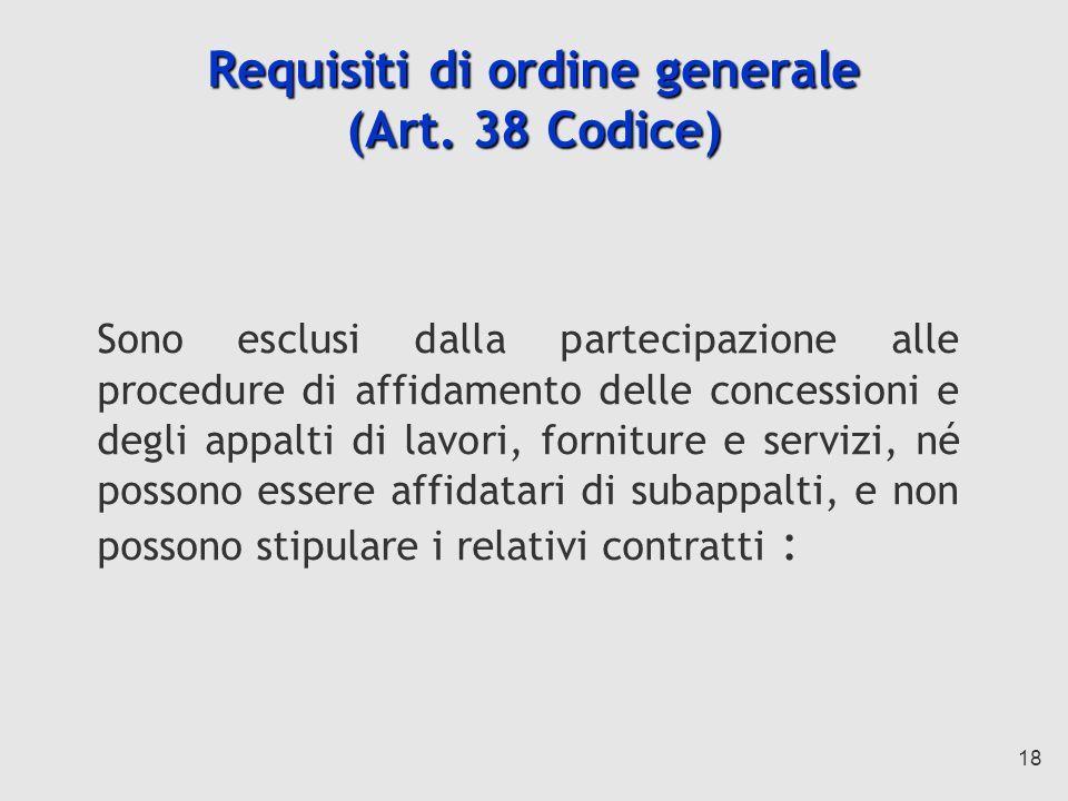 18 Requisiti di ordine generale (Art.
