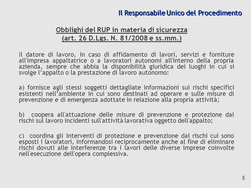5 Obblighi del RUP in materia di sicurezza (art.26 D.Lgs.