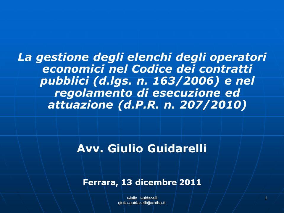 Giulio Guidarelli giulio.guidarelli@unibo.it 2 Elenco degli operatori economici.