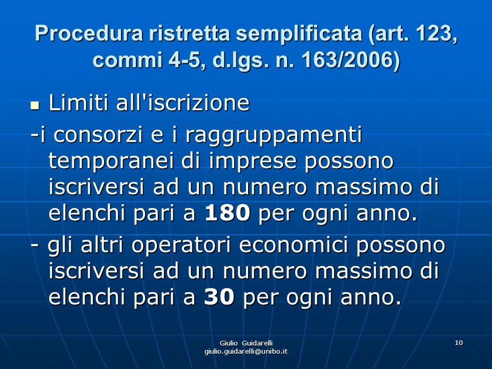 Giulio Guidarelli giulio.guidarelli@unibo.it 11 Procedura ristretta semplificata (art.