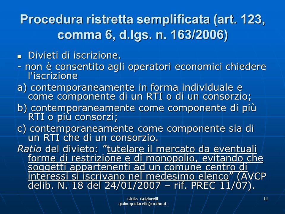 Giulio Guidarelli giulio.guidarelli@unibo.it 12 Procedura ristretta semplificata (art.