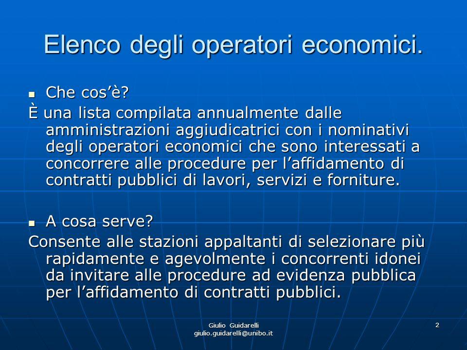 Giulio Guidarelli giulio.guidarelli@unibo.it 3 Ipotesi di applicazione del procedimento di selezione del contraente a mezzo di elenco operatori nel codice dei contratti 1) Procedura ristretta semplificata per gli appalti di lavori di importo inferiore a un milione e cinquecentomila euro (art.