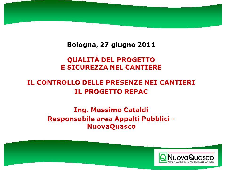 Bologna, 27 giugno 2011 QUALITÀ DEL PROGETTO E SICUREZZA NEL CANTIERE IL CONTROLLO DELLE PRESENZE NEI CANTIERI IL PROGETTO REPAC Ing. Massimo Cataldi