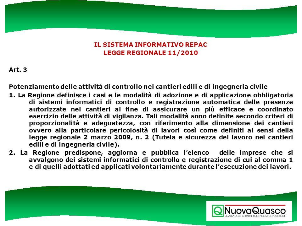 IL SISTEMA INFORMATIVO REPAC LEGGE REGIONALE 11/2010 Art. 3 Potenziamento delle attività di controllo nei cantieri edili e di ingegneria civile 1. La