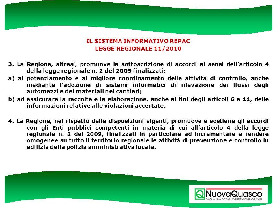 IL SISTEMA INFORMATIVO REPAC LEGGE REGIONALE 11/2010 3. La Regione, altresì, promuove la sottoscrizione di accordi ai sensi dellarticolo 4 della legge