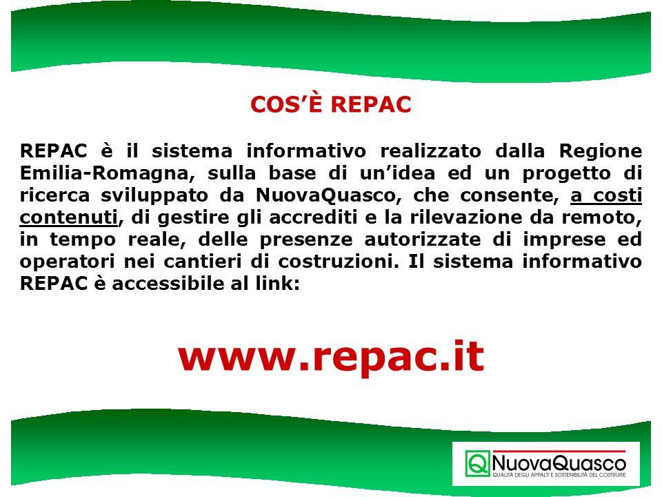 COSÈ REPAC REPAC è il sistema informativo realizzato dalla Regione Emilia-Romagna, sulla base di unidea ed un progetto di ricerca sviluppato da NuovaQ